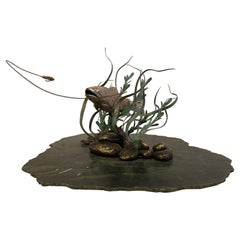 Mid-Century Modern Green Marble & Bronze Fish Sculpture