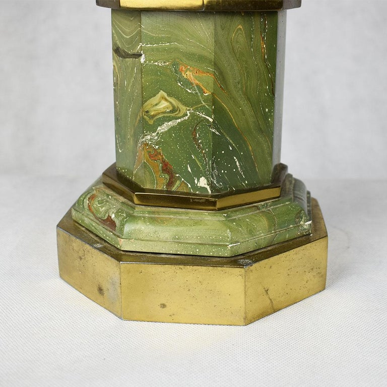 American Mid-Century Modern Green Marbled Malachite Look Brass Pagoda Lamp For Sale