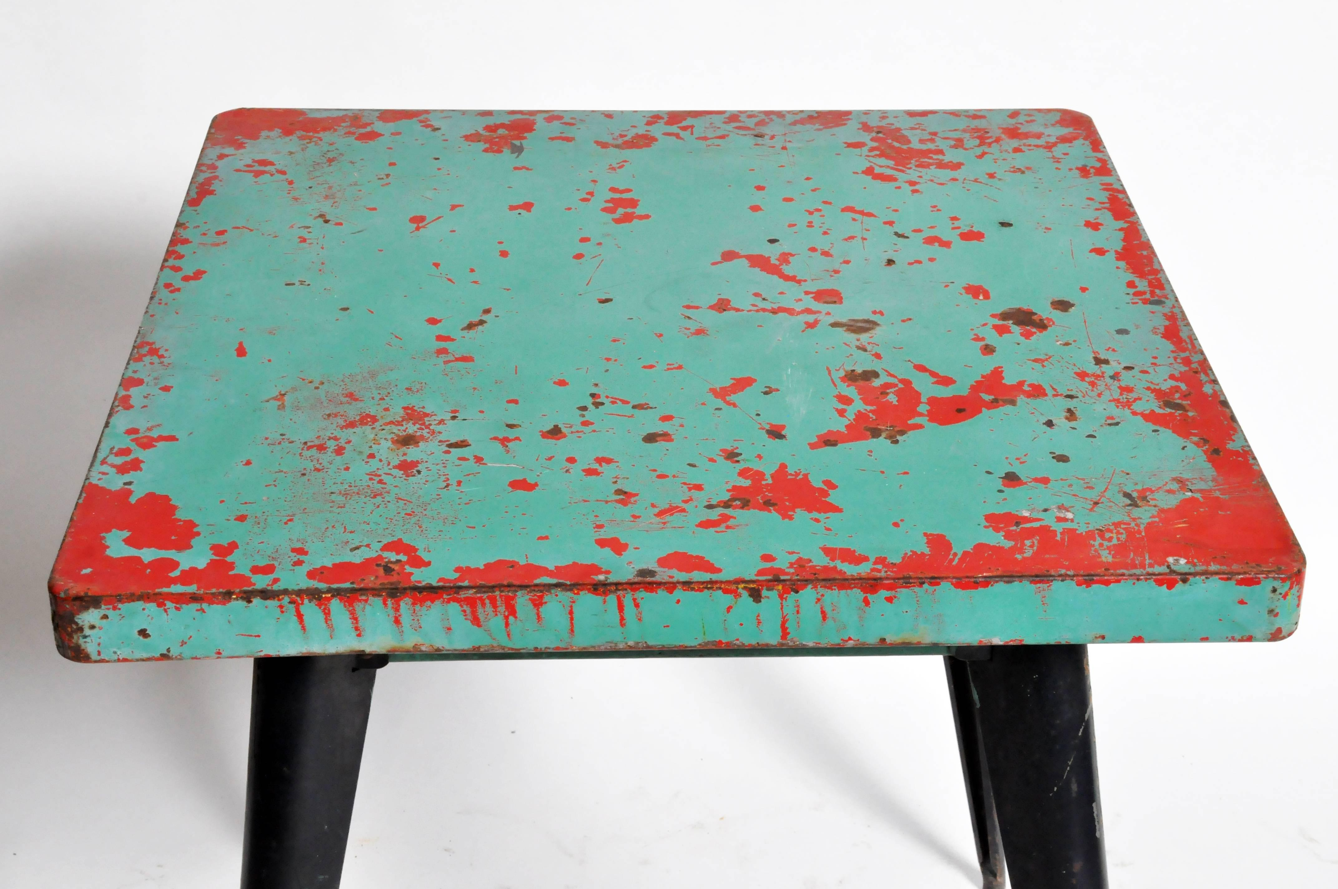 Mid Century Modern Green Metal Outdoor Cafe Table by Tolix For Sale