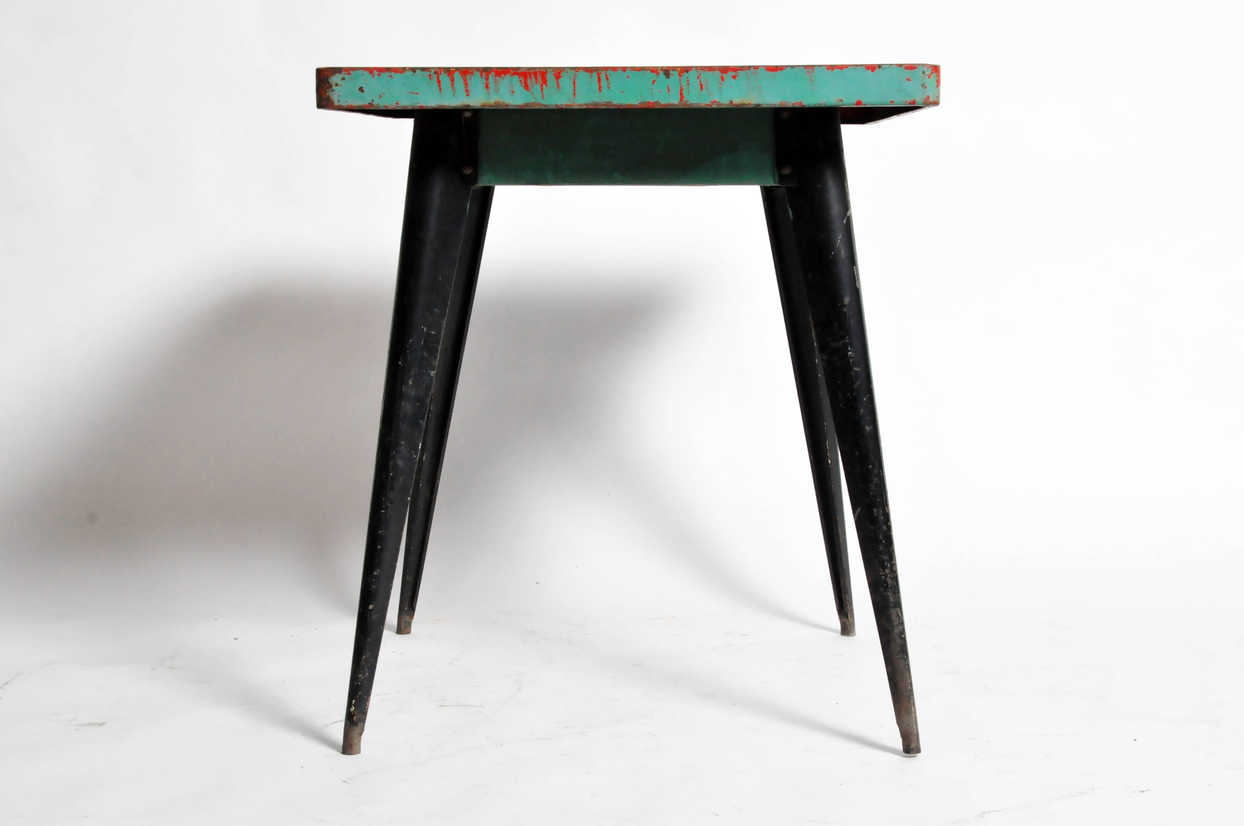 Mid Century Modern Green Metal Outdoor Cafe Table By Tolix For Sale 1