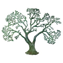 Mid-Century Modern Green Metal Tree of Life Wall Sculpture Relief
