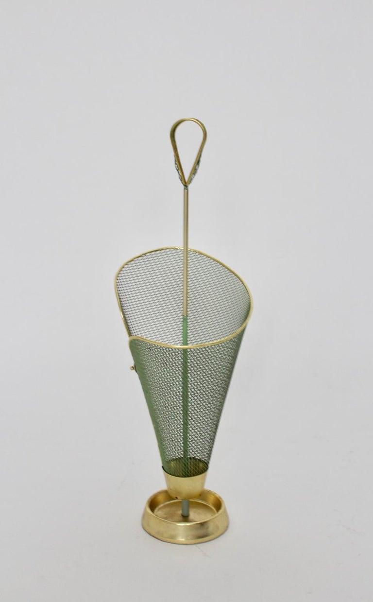 Cast Mid-Century Modern Green Metal Vintage Umbrella Stand Schiwa Luxus, 1950s For Sale