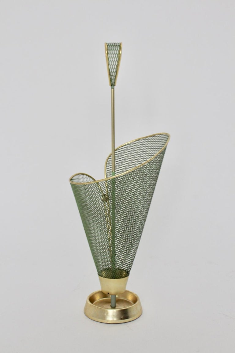 20th Century Mid-Century Modern Green Metal Vintage Umbrella Stand Schiwa Luxus, 1950s For Sale