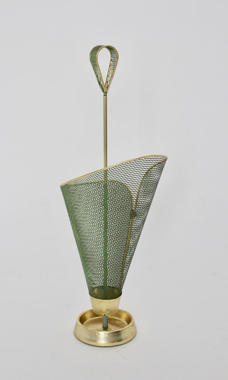 Iron Mid-Century Modern Green Metal Vintage Umbrella Stand Schiwa Luxus, 1950s For Sale