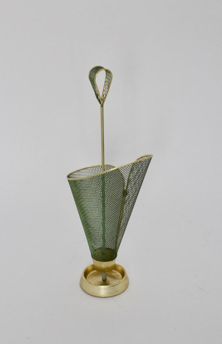 Mid-Century Modern Green Metal Vintage Umbrella Stand Schiwa Luxus, 1950s For Sale 1