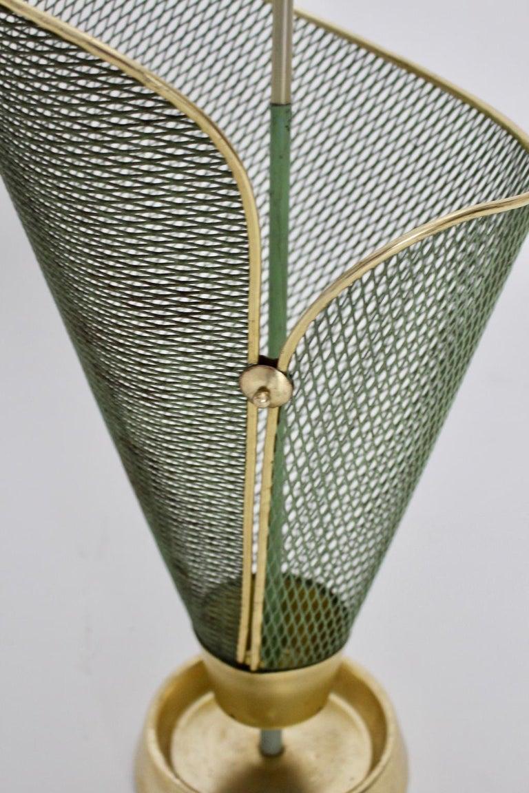 Mid-Century Modern Green Metal Vintage Umbrella Stand Schiwa Luxus, 1950s For Sale 3