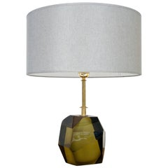 Mid-Century Modern Green Murano Table Lamp, Italy, 1950