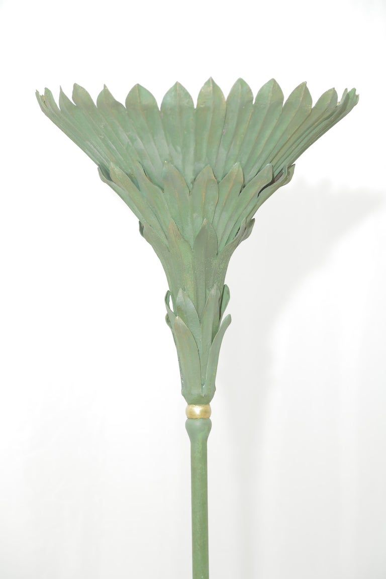 Elegant design by Maison Jansen with vegetal inspiration, this floor lamp is one of a kind piece and can be included in any modern or more classical interior.