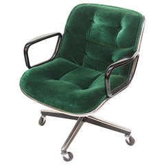Mid-Century Modern Green Velour Desk Chair by Charles Pollock for Knoll Studios