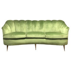 Mid-Century Modern Green Velvet and Brass Italian Curved Sofa, circa 1950