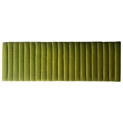 Mid-Century Modern Art Deco Hollywood Regency Green Velvet Channeled Headboard