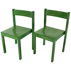 Mid-Century Modern Green Vintage Dining Chairs by Carl Auböck 1956 Vienna
