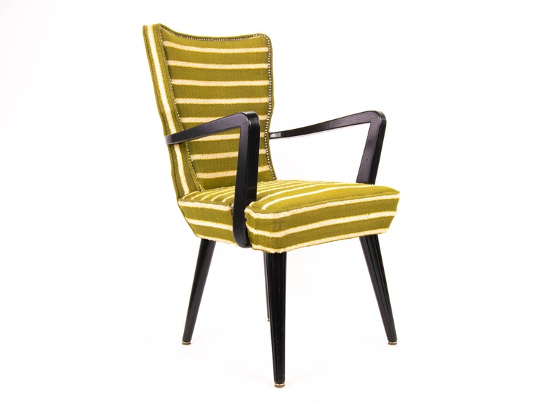 Mid-20th Century Mid-Century Modern Green Wool and Lacquered Beech Armchair, France, circa 1940 For Sale