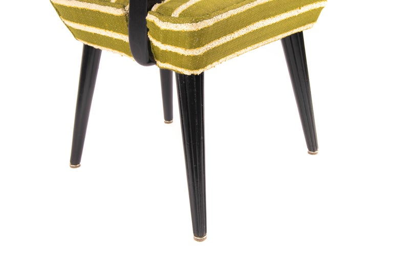 Mid-Century Modern Green Wool and Lacquered Beech Armchair, France, circa 1940 For Sale 2