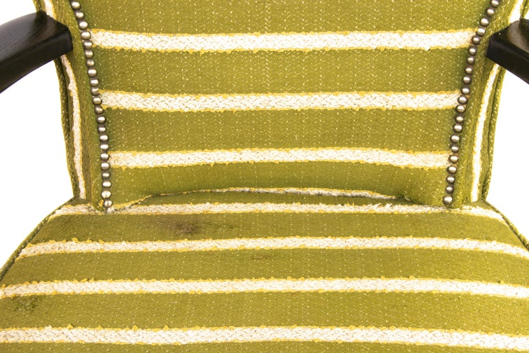 Mid-Century Modern Green Wool and Lacquered Beech Armchair, France, circa 1940 For Sale 3