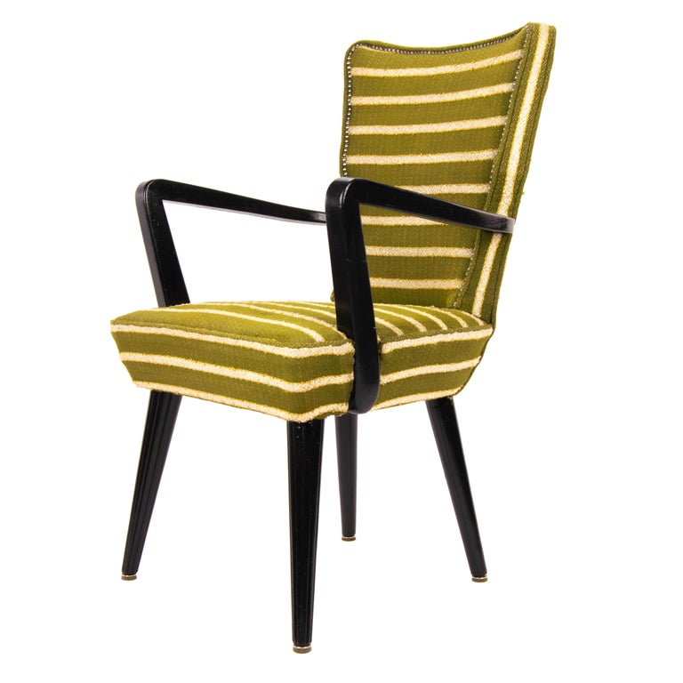 Mid-Century Modern Green Wool and Lacquered Beech Armchair, France, circa 1940 For Sale