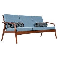 Mid-Century Modern Grete Jalk Style Three-Seat Walnut Frame Sofa Couch