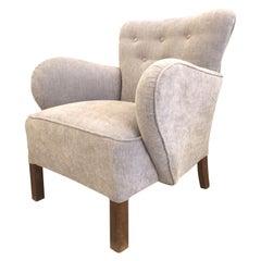 Mid-Century Modern Grey Armchair Fritz Hansen Style