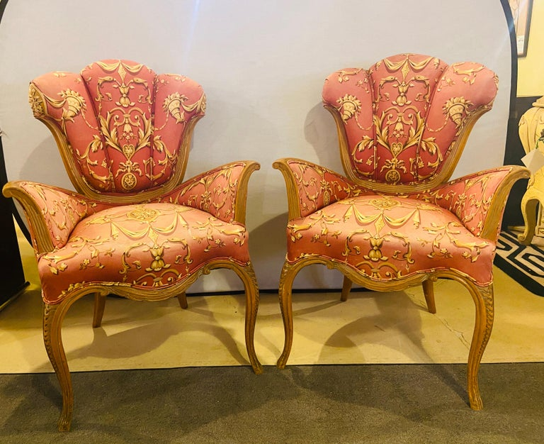 Pair of finely carved Grosfeld House Sweetheart chairs. Mid-Century Modern with custom original fabric. Slight staining can use a good cleaning.   Dimensions: 22.5