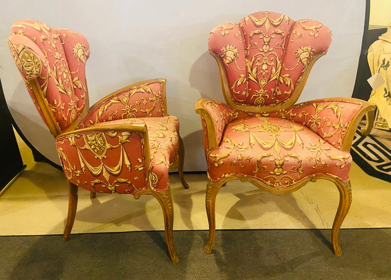 Fabric Mid-Century Modern Grosfeld House Sweetheart Chairs, a Fine Carved Pair For Sale