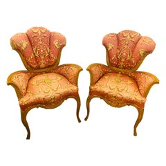 Mid-Century Modern Grosfeld House Sweetheart Chairs, a Fine Carved Pair