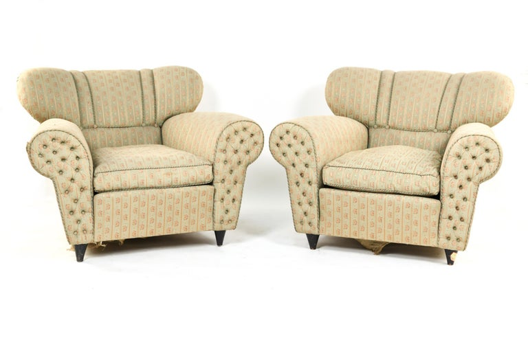 Fabric Mid-Century Modern Guglielmo Ulrich Lounge Chairs a Pair For Sale