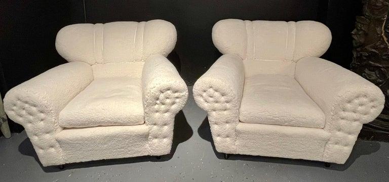 Italian Mid-Century Modern Guglielmo Ulrich Lounge Chairs a Pair, Plush Sherpa Design