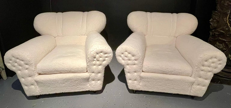 Mid-Century Modern Guglielmo Ulrich Lounge Chairs a Pair, Plush Sherpa Design In Good Condition In Stamford, CT
