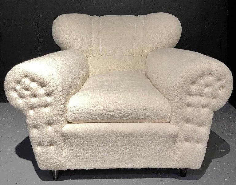 Fabric Mid-Century Modern Guglielmo Ulrich Lounge Chairs a Pair, Plush Sherpa Design