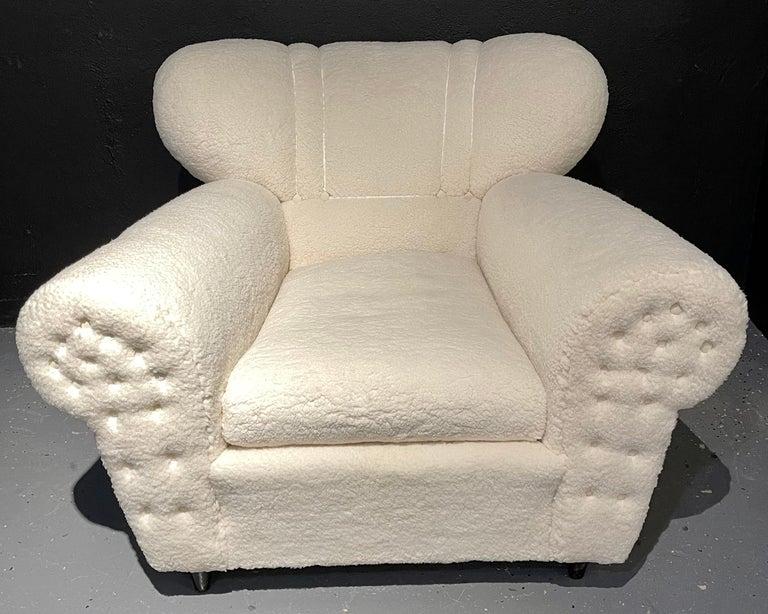 Mid-Century Modern Guglielmo Ulrich Lounge Chairs a Pair, Plush Sherpa Design 1