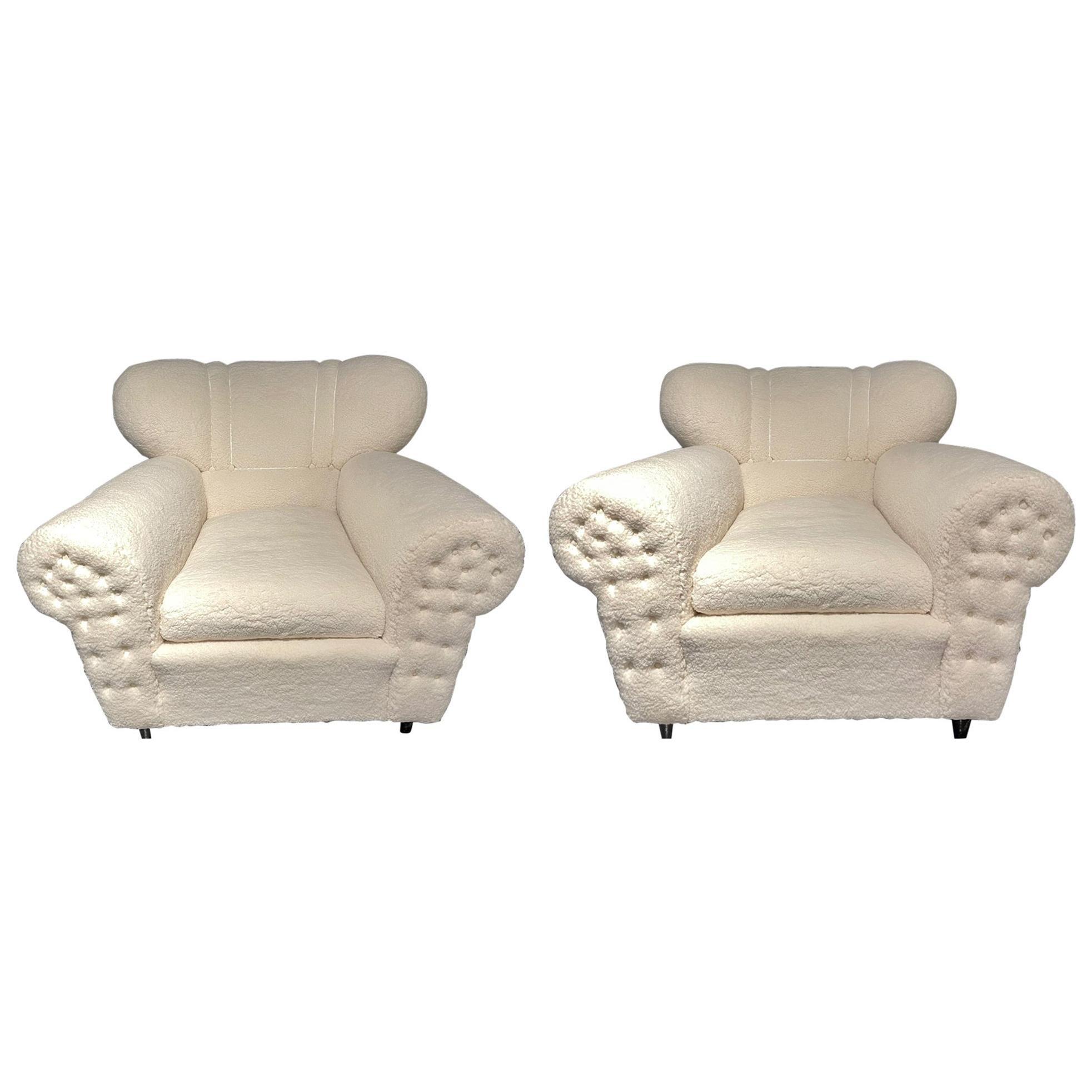 Mid-Century Modern Guglielmo Ulrich Lounge Chairs a Pair, Plush Sherpa Design