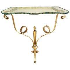 Mid-Century Modern Hammered Brass Console by Pier Luigi Colli with Original Top
