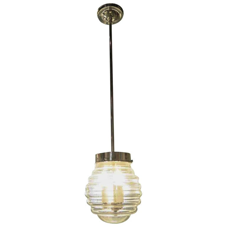 Mid-Century Modern Hand Blown Murano Glass Beehive Nickel Pole Pendant Light For Sale