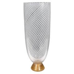 Mid-Century Modern Hand Blown Murano Vase with 24-Karat Gold Flecks by Seguso