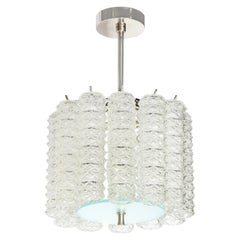 Mid-Century Modern Hand Blown Translucent and Frosted Murano Glass Chandelier