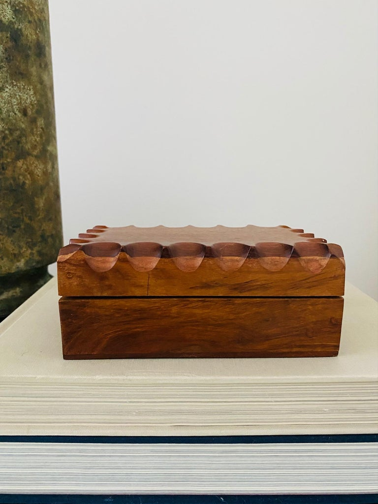 Danish Mid-Century Modern Hand Carved Trinket Box in Walnut Wood, Denmark, c. 1960 For Sale