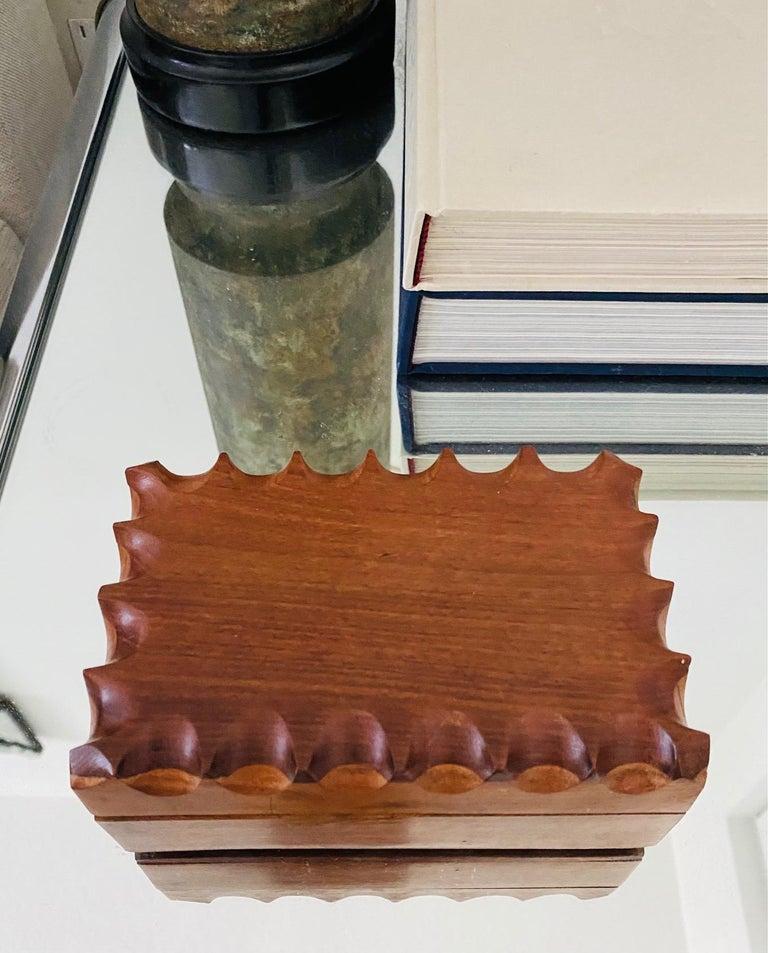 Teak Mid-Century Modern Hand Carved Trinket Box in Walnut Wood, Denmark, c. 1960 For Sale