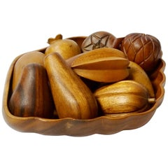 Mid-Century Modern Hand Carved Wood Fruits and Bowl