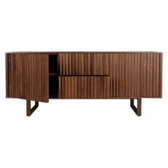 Handcrafted American Walnut Sideboard with Faceted Panels