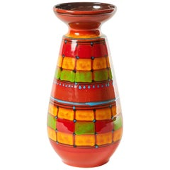 Mid-Century Modern Hand Decorated Santi Signed Vase from Italy