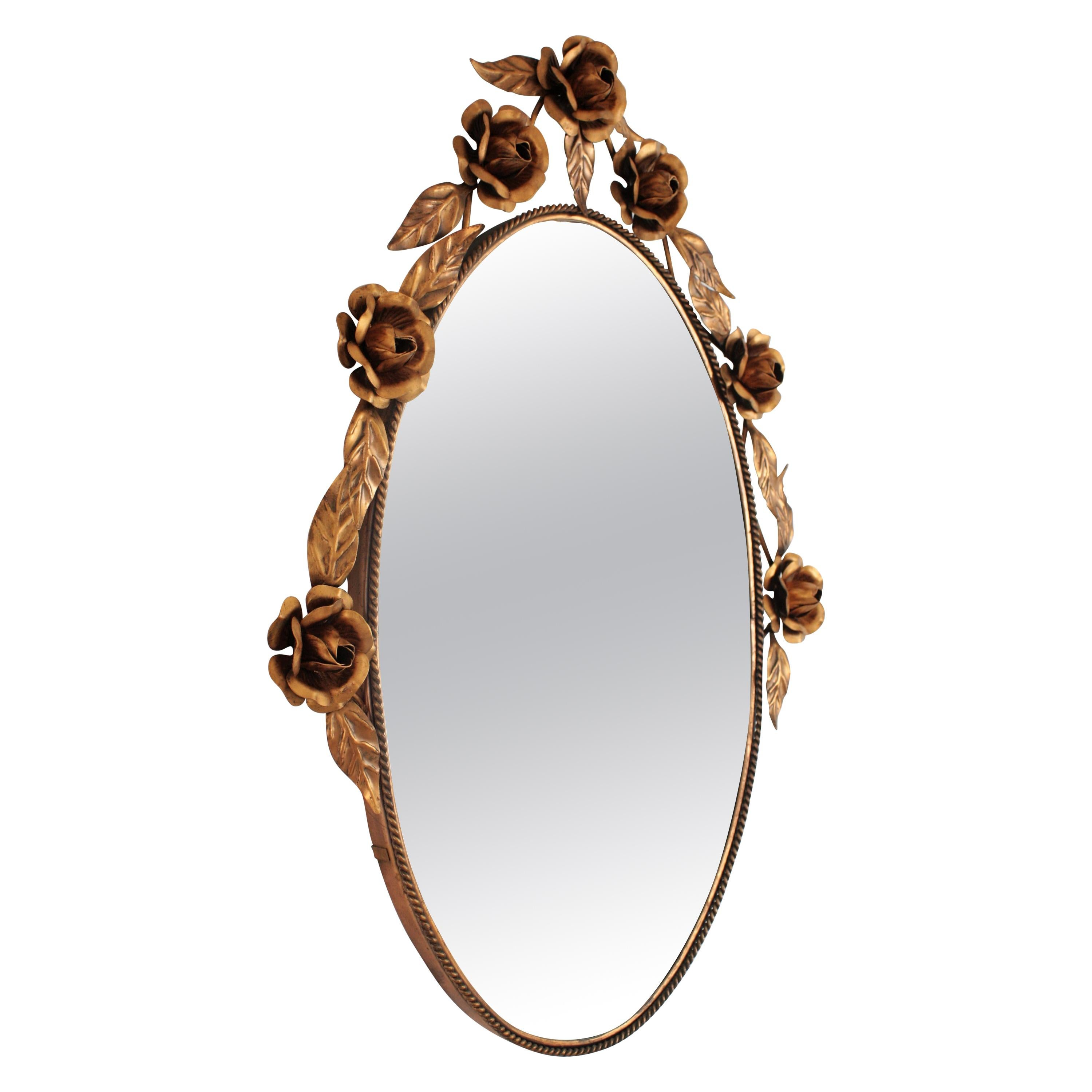 Coppered Metal Floral Oval Mirror, Spain, 1960s
