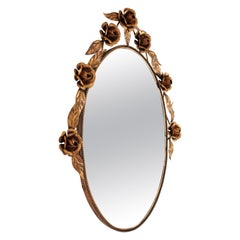 Mid-Century Modern Hand-Hammered Coppered Metal Floral Oval Mirror, Spain, 1960s