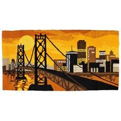 Mid-Century Modern Hand Hooked Wool Fiber Wall Art Rug Bay Bridge Orange, 1960s