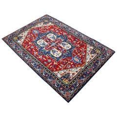 Mid-Century Modern Hand-Knotted Area Rug Carpet Swedish Style Blue Red
