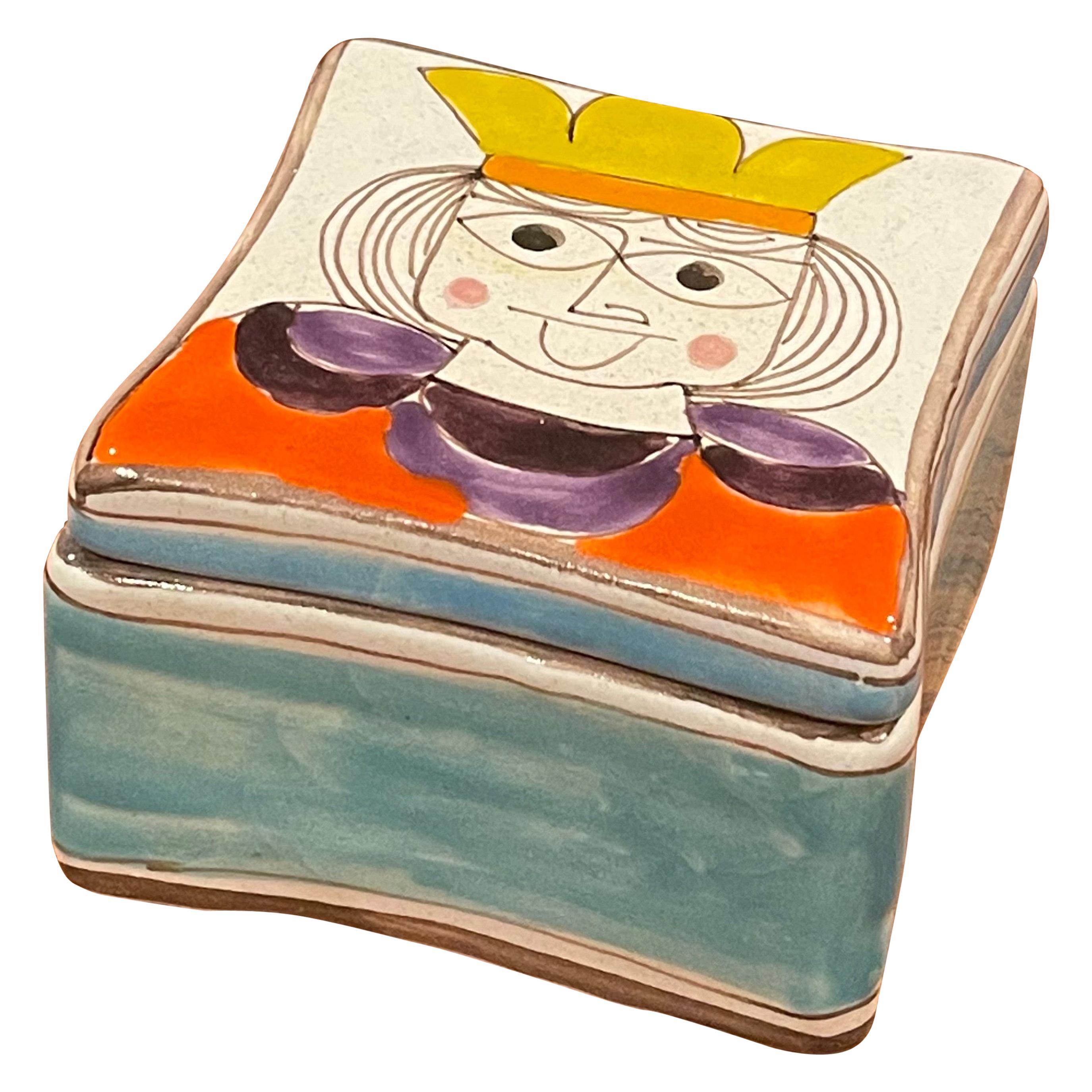 Mid-Century Modern Hand Painted Ceramic Trinket Box by Giovanni Desimone