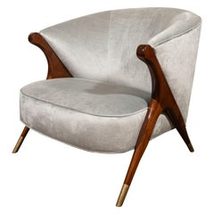 Mid-Century Modern Hand Rubbed Walnut and Platinum Velvet Lounge Chair by Karpen