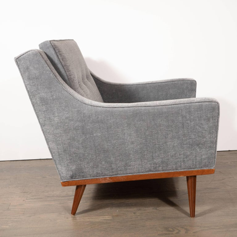 Mid-20th Century Mid-Century Modern Hand Rubbed Walnut Button Back Armchair in Dove Gray Fabric For Sale