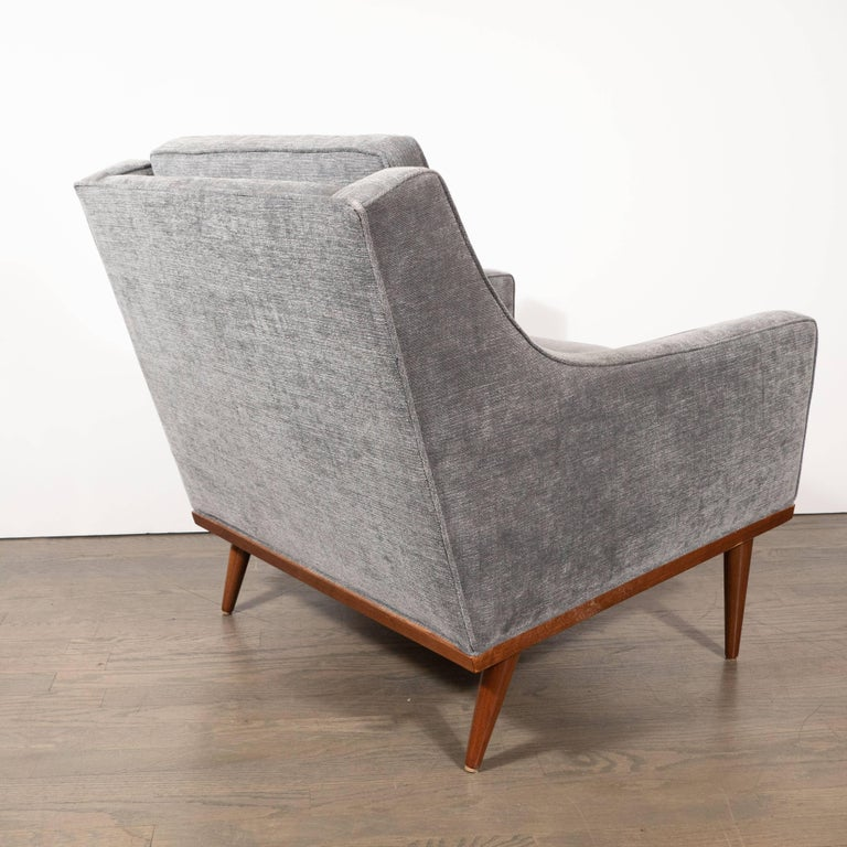 Mid-Century Modern Hand Rubbed Walnut Button Back Armchair in Dove Gray Fabric For Sale 1
