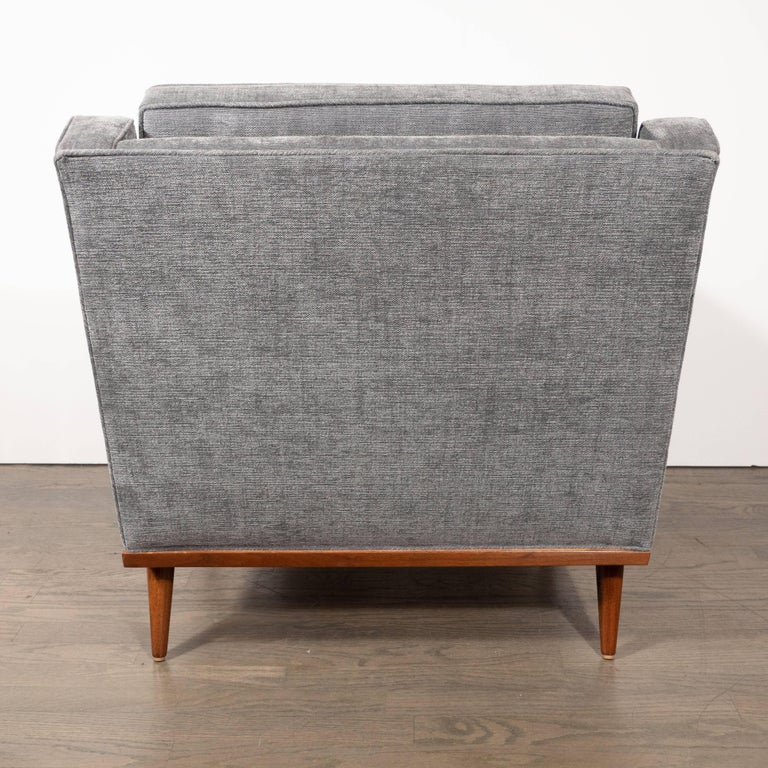 Mid-Century Modern Hand Rubbed Walnut Button Back Armchair in Dove Gray Fabric For Sale 3