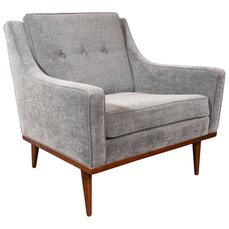 Mid-Century Modern Hand Rubbed Walnut Button Back Armchair in Dove Gray Fabric For Sale